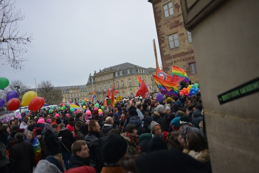 Blockade Zugang zur rechten Kundgebung